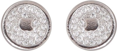 TUAN simple round shaped Cubic Zirconia Sterling Silver Stud Earring