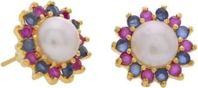 Hyderabad Jewels Cubic Zirconia Silver, Alloy Stud Earring