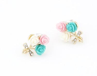 Cilver Fashion Cute Triple Roses Alloy Stud Earring