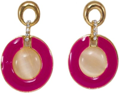 Bandish Gold toned Pink Enamel Round Alloy Drop Earring