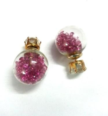 6Lotus Pink Ball Alloy Stud Earring