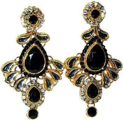 Mrinalini Black Floral Alloy Drop Earring