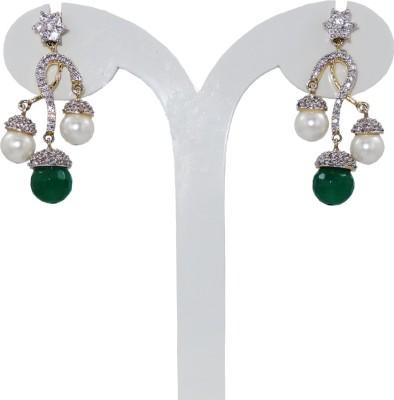 Anjan Lovely Designer Golden Cubic Zirconia Brass Drop Earring