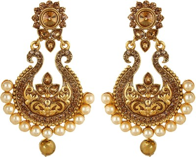 Fabula Gold Zircon American Diamond AD CZ & Pearl Traditional Ethnic Jewellery Drop for Women, Girls & Ladies Metal Dangle Earring