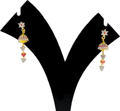 JDJ Imitation Jewelleris Small Red Romantic Cubic Zirconia Brass Jhumki Earring