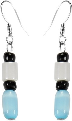 Crystals & Beads Turquoise Blue Colour Barrel Cats Eye & Opal White Bead & Onyx Black Moonball Acrylic, Glass, Crystal Dangle Earring