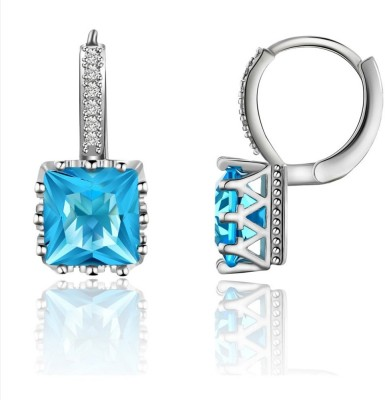 Caratcube Blue Silver 18K White Gold Plated Austrian Square Crystal Alloy Hoop Earring