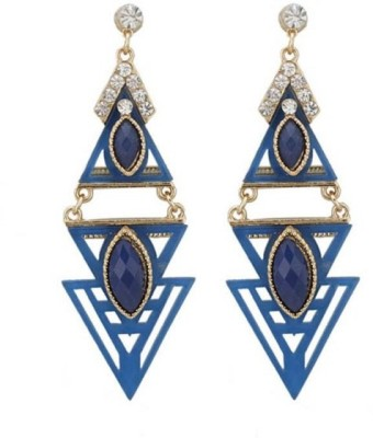 Jewel Touch Wooden Bohemian Style Triangle Alloy, Wood Drop Earring