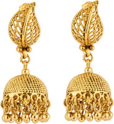 CTW Petal Design Yellowgold Brass Jhumki Earring