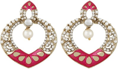 Radius Pink Minakari Style Zircon Metal Chandbali Earring