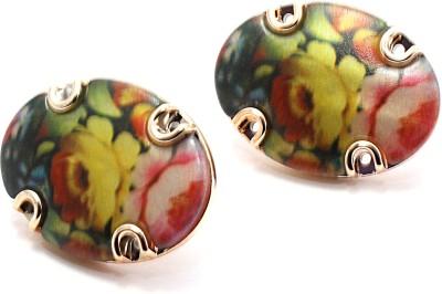 Zidox Floral Print Alloy Stud Earring