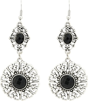 Sansar India Flower Silver Classic Black Alloy Dangle Earring