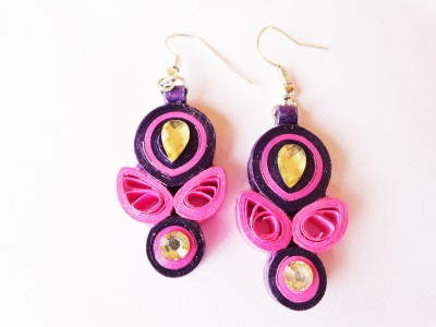 Alivio Quilled Paper Pink & Purple Shades Designer Paper Dangle Earring