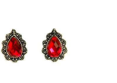Greek Sojourn 05 Ruby Brass Stud Earring
