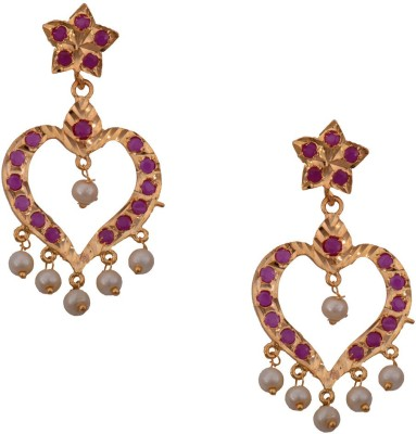 Mahaveer Pearls Pink & White Retro Style Brass Drop Earring