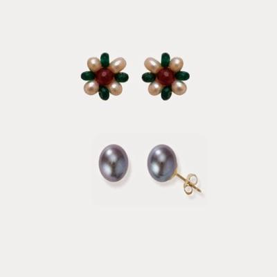 Nisa Pearls Pearl Alloy Earring Set