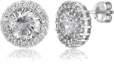 Tatva Rhodium Plated Cubic Zirconia Earrings Cubic Zirconia Brass Stud Earring