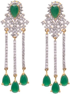 JewelAway Emerald Dangling Brass Tassel Earring