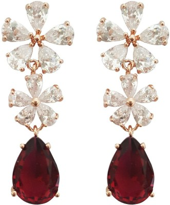 Mehrunnisa Gold Tone Cubic Zirconia Red Pear Metal Drop Earring