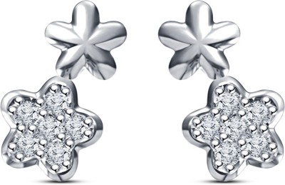 Kirati Flower Shape Cubic Zirconia Sterling Silver Stud Earring