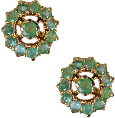 Pearl Paradise Cluster Emerald Alloy Stud Earring