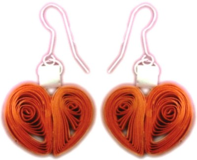 Vaishali's Quilling Jewellery Orange and white colour Paper Drop Earring
