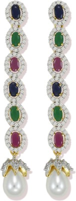 Zaveri Pearls Sparkling Blue Sapphire,Ruby and Emrald Semi Precious CZ Stones with White Pearl Cubic Zirconia Brass Tassel Earring