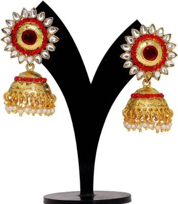 Jaipur Mart Red Crystals Round Kundan Tops Alloy Jhumki Earring