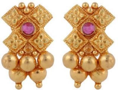 VelvetCase Traditional Gemstone Gold Earrings Ruby Gold Stud Earring