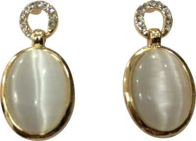 Gliteri Oval White Alloy Drop Earring