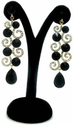 London Jewels Sparkling Black Alloy Drop Earring