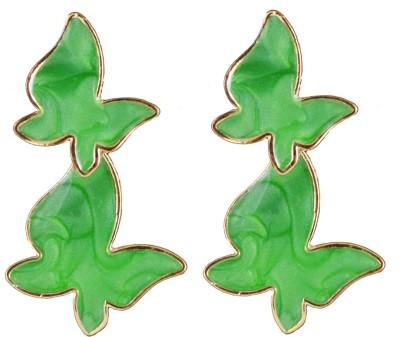 Harini Designer Green Butterfly Alloy Drop Earring