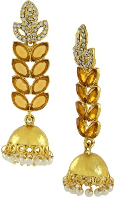 Naveli Gold Plated American diamond With Crystals & Pearl Copper Drop Earring