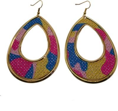 Bandish Multicoloured Tear shaped Alloy Dangle Earring