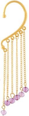 Fashionaya Purple Beads Gold Plated Alloy Cuff Earring