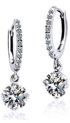 iSweven Fashion Girls Austrian Zircon Crystal Rhinestone Jewelry Silver Golden Lovely Gift Alloy Hoop Earring