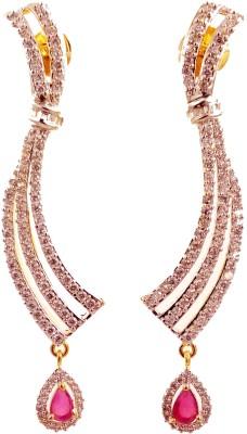 Ojas Jewels Glamorous Ruby Zircon Alloy Dangle Earring