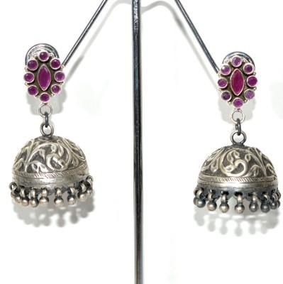 Anavaysilver Ear059 Onyx Sterling Silver Jhumki Earring