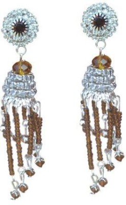 ACW White and Brown Stones Danglers with Silver Plating Earrings for Women Alloy Dangle Earring