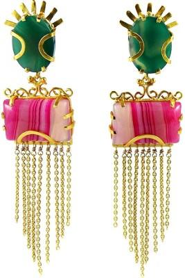 Miska Silver BERCB16-1001-5 Onyx Brass Drop Earring