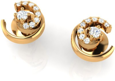 Arkina Diamonds Cresent Curve Yellow Gold 18kt Diamond Stud Earring
