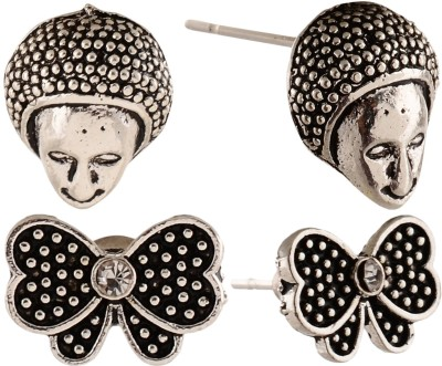 Anokhi Ada Butterfly and Human Faced Metal Stud Earring