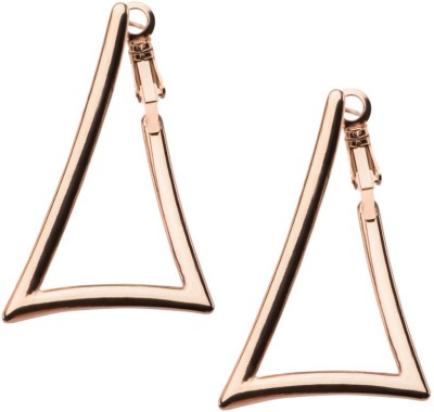 Inox Jewelry Triangle Cut-Out Stainless Steel Hoop Earring