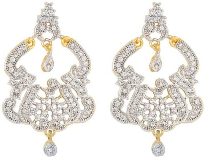Voylla Precious Classic Embellished Cubic Zirconia Sterling Silver Dangle Earring