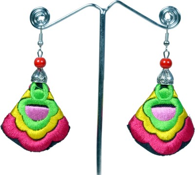 Angelfish Handmade colorful red embroidery long drop Fabric Dangle Earring