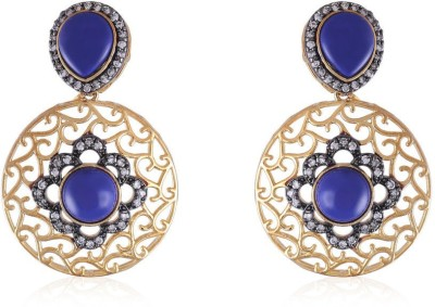 Vastradi Round Shape With Blue Colour Alloy Drop Earring