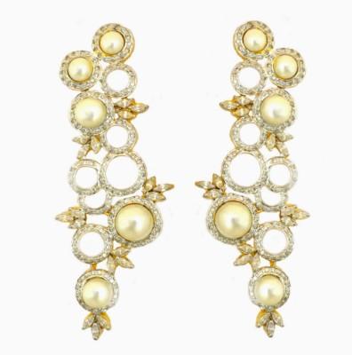 Dilan Jewels Enormous Sparkling Zircon, Pearl Sterling Silver Chandelier Earring