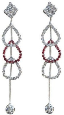 ACW Indo Western Silver Plated White and Maroon Stones Hanging Earring for Women Alloy Dangle Earring