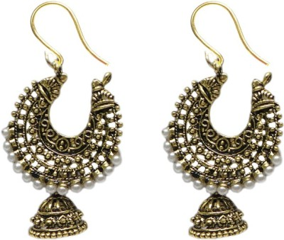 Charvee Oxidised Crescent with Beads Alloy Chandelier Earring
