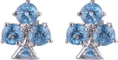 Krishna Pearls & Jewellers Princess Delight Topaz Silver Stud Earring